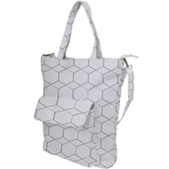 Honeycomb Pattern Black And White Shoulder Tote Bag by picsaspassion
