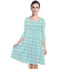 Mint Triangle Shape Pattern Quarter Sleeve Waist Band Dress