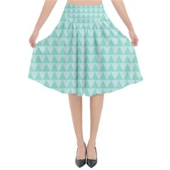 Mint Triangle Shape Pattern Flared Midi Skirt