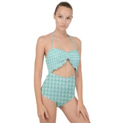 Mint Triangle Shape Pattern Scallop Top Cut Out Swimsuit