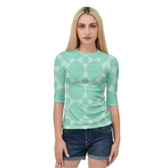 Mint Star Pattern Quarter Sleeve Raglan Tee