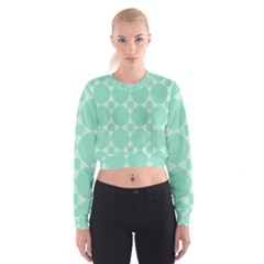 Mint Star Pattern Cropped Sweatshirt