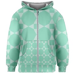 Mint Star Pattern Kids Zipper Hoodie Without Drawstring