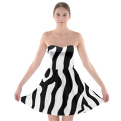 Zebra Horse Pattern Black And White Strapless Bra Top Dress by picsaspassion