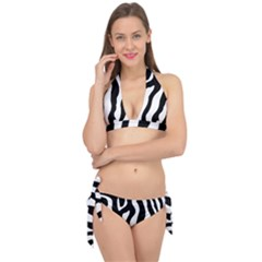 Zebra Horse Pattern Black And White Tie It Up Bikini Set