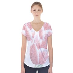Tulip Red And White Pen Drawing Short Sleeve Front Detail Top