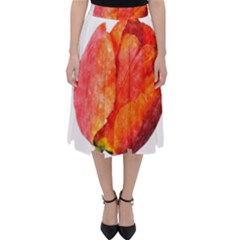 Red Tulip, Watercolor Art Classic Midi Skirt