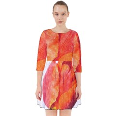 Red Tulip, Watercolor Art Smock Dress