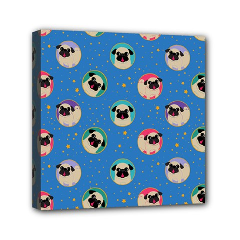 Pugs In Circles With Stars Mini Canvas 6  X 6  (stretched)