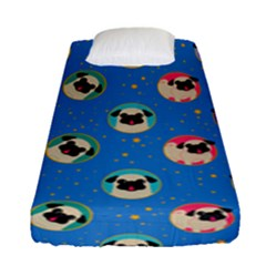 Pugs In Circles With Stars Fitted Sheet (single Size)