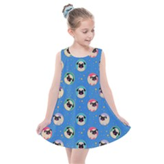 Pugs In Circles With Stars Kids  Summer Dress
