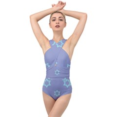 Star Christmas Night Seamlessly Cross Front Low Back Swimsuit by Wegoenart