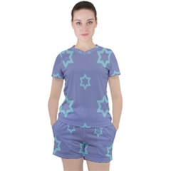 Star Christmas Night Seamlessly Women s Tee And Shorts Set by Wegoenart