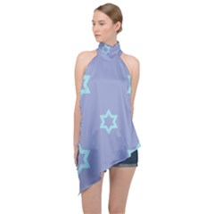 Star Christmas Night Seamlessly Halter Asymmetric Satin Top by Wegoenart
