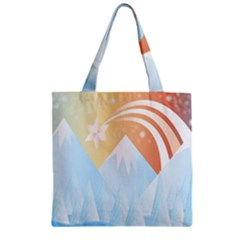 Winter Landscape Star Mountains Zipper Grocery Tote Bag by Wegoenart