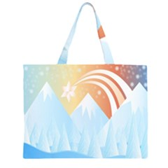 Winter Landscape Star Mountains Zipper Large Tote Bag