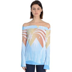 Winter Landscape Star Mountains Off Shoulder Long Sleeve Top