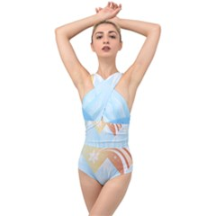 Winter Landscape Star Mountains Cross Front Low Back Swimsuit by Wegoenart