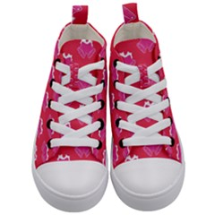 Christmas Red Pattern Reasons Kid s Mid Top Canvas Sneakers