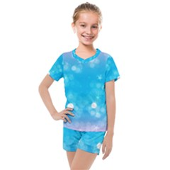 Background Abstract Christmas Snow Kids  Mesh Tee And Shorts Set