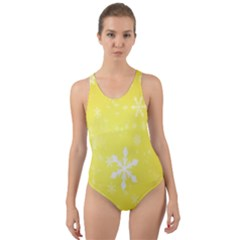 Snowflakes The Background Snow Cut Out Back One Piece Swimsuit by Wegoenart