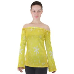 Snowflakes The Background Snow Off Shoulder Long Sleeve Top