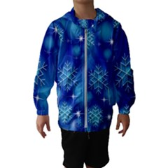 Blue Background Christmas Hooded Windbreaker (kids)