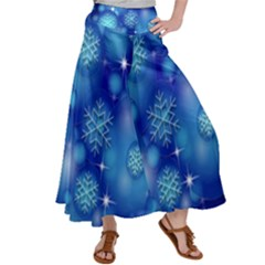 Blue Background Christmas Satin Palazzo Pants by Wegoenart
