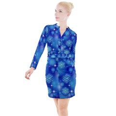 Blue Background Christmas Button Long Sleeve Dress