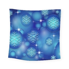 Blue Background Christmas Square Tapestry (small)