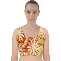 Christmas Straw Xmas Gold Velvet Racer Back Crop Top