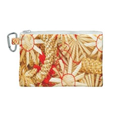 Christmas Straw Xmas Gold Canvas Cosmetic Bag (medium)