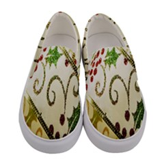 Christmas Ribbon Background Women s Canvas Slip Ons