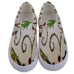 Christmas Ribbon Background Kids  Canvas Slip Ons