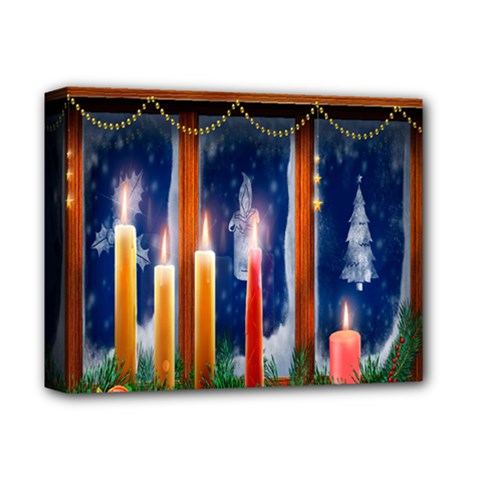 Christmas Lighting Candles Deluxe Canvas 14  X 11  (stretched)