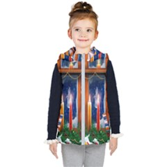 Christmas Lighting Candles Kid s Hooded Puffer Vest by Wegoenart
