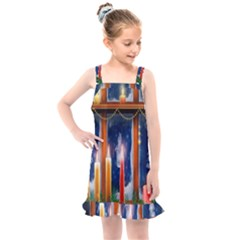 Christmas Lighting Candles Kids  Overall Dress