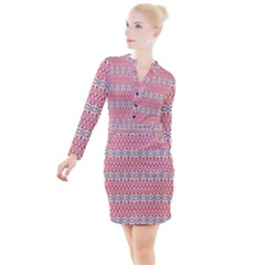 Christmas Pattern Vintage Button Long Sleeve Dress by Wegoenart