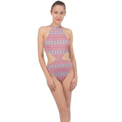 Christmas Pattern Vintage Halter Side Cut Swimsuit