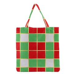 Christmas Fabric Textile Red Green Grocery Tote Bag by Wegoenart