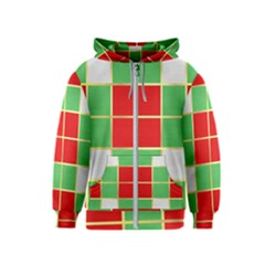 Christmas Fabric Textile Red Green Kids  Zipper Hoodie