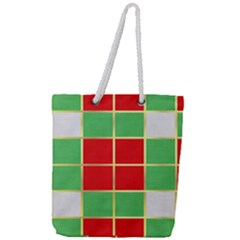 Christmas Fabric Textile Red Green Full Print Rope Handle Tote (large)
