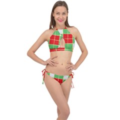 Christmas Fabric Textile Red Green Cross Front Halter Bikini Set