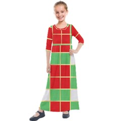 Christmas Fabric Textile Red Green Kids  Quarter Sleeve Maxi Dress by Wegoenart