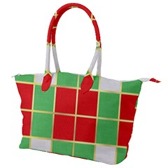 Christmas Fabric Textile Red Green Canvas Shoulder Bag