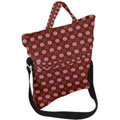 Christmas Paper Wrapping Pattern Fold Over Handle Tote Bag by Wegoenart