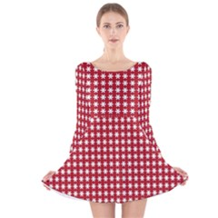 Christmas Paper Wrapping Paper Long Sleeve Velvet Skater Dress