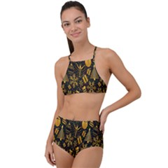 Christmas Background High Waist Tankini Set