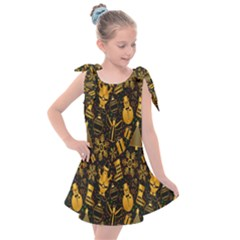 Christmas Background Kids  Tie Up Tunic Dress