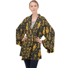 Christmas Background Velvet Kimono Robe